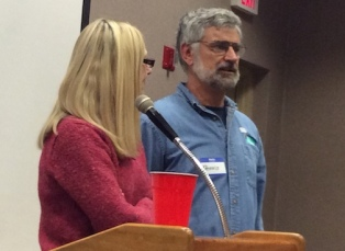 Former BCBA president Dennis Barry offers a word of thanks to Stacey Adair during the February short course for new beekeepers. Stacey served as secretary for the association for several years before stepping down at the end of last year.