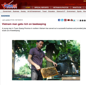A screenshot of the story on VietnamNet about a successful Vietnamese beekeeper.